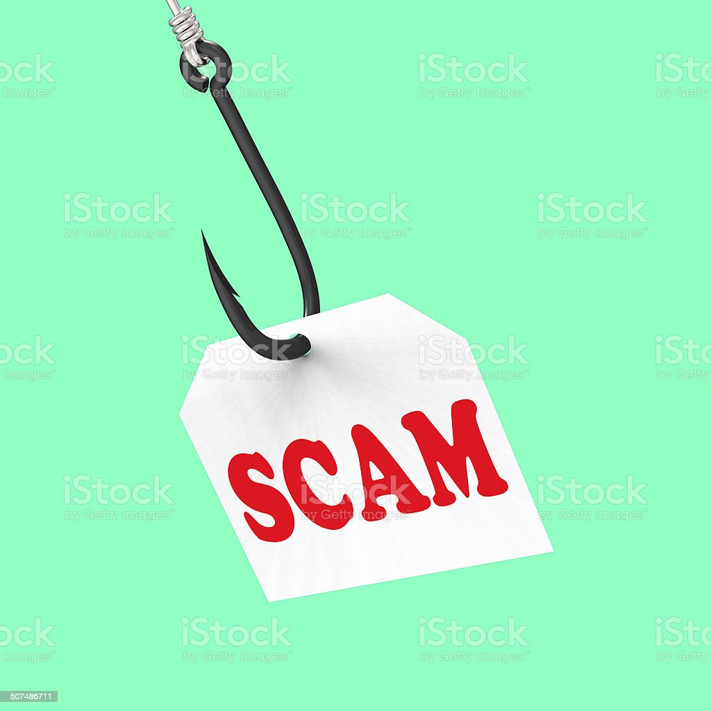 Scam On Hook Means Schemes Or Deceits stock photo