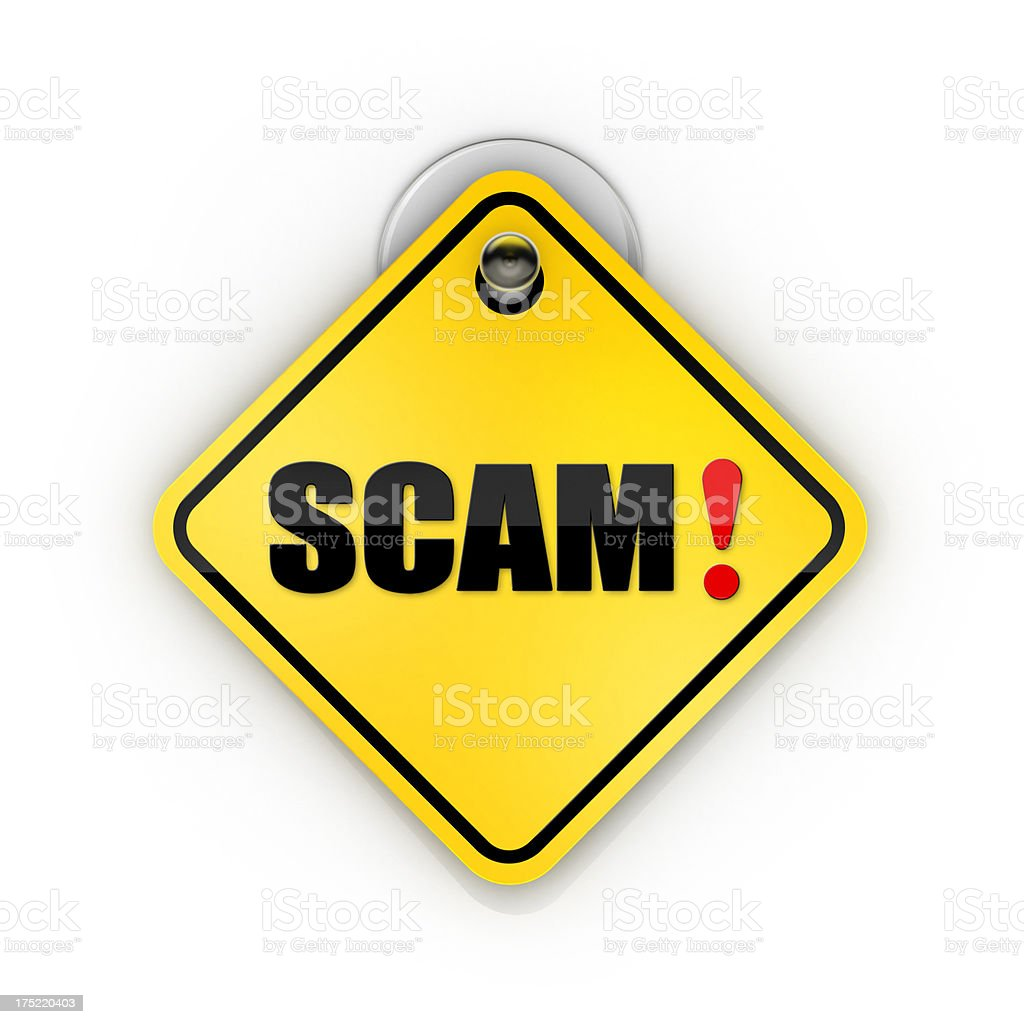 Scam warning Sticky sign stock photo