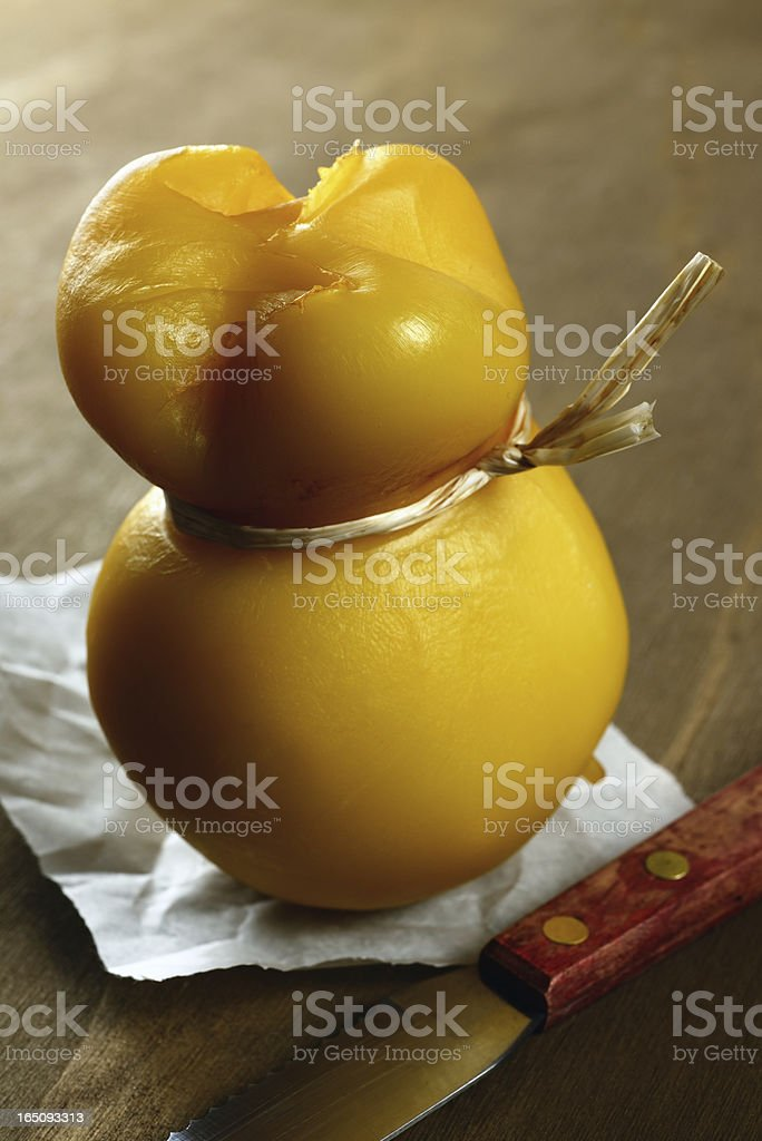 Scamorza, typical italian smoked cheese royalty-free stock photo