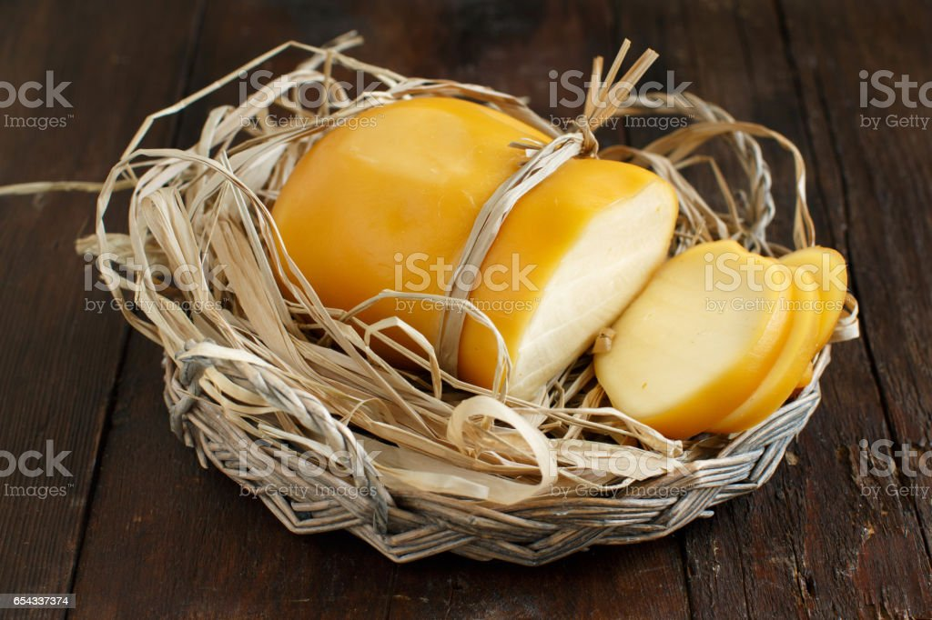 Scamorza, typical italian smoked cheese stock photo