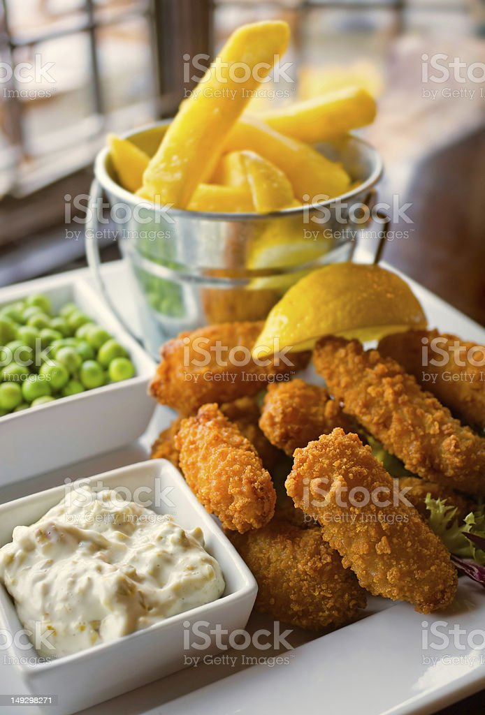 Scampi and Chips meal stock photo