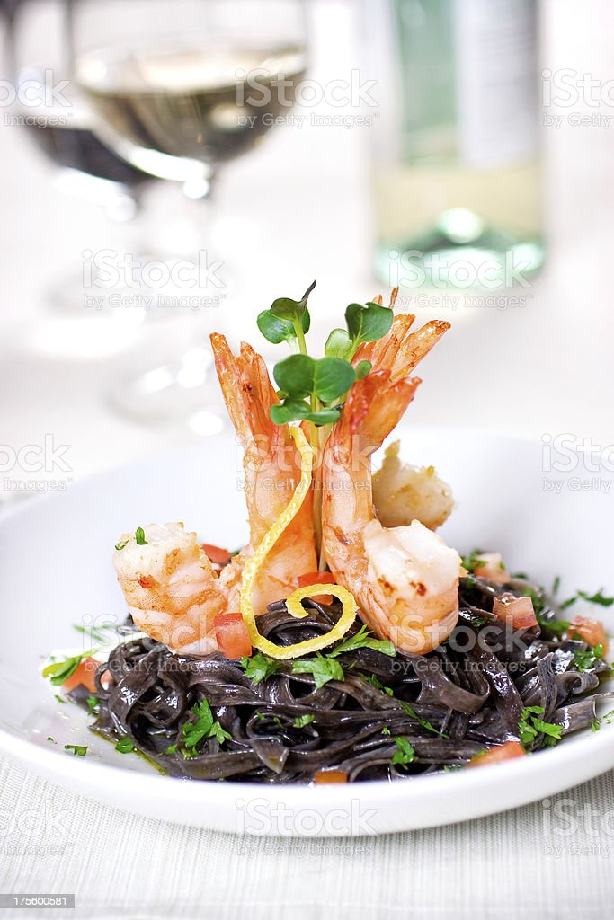Scampi & Black Pasta stock photo