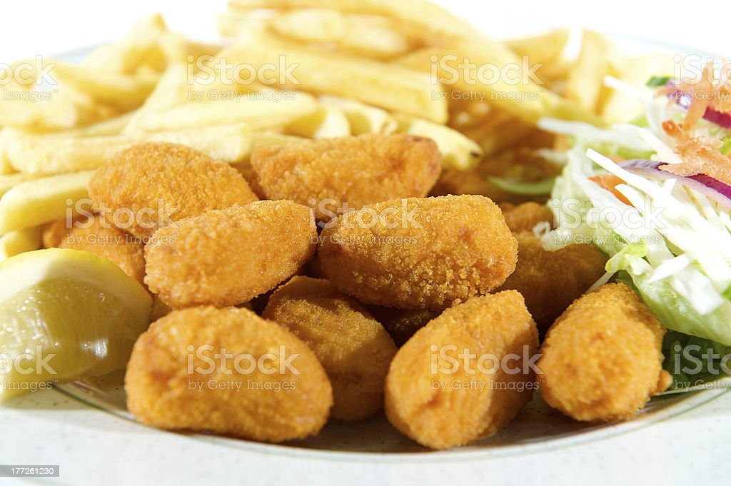 Scampi, chips and salad stock photo