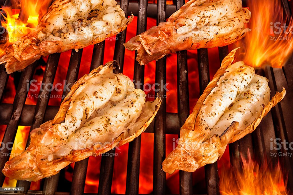 Scampi on grill stock photo