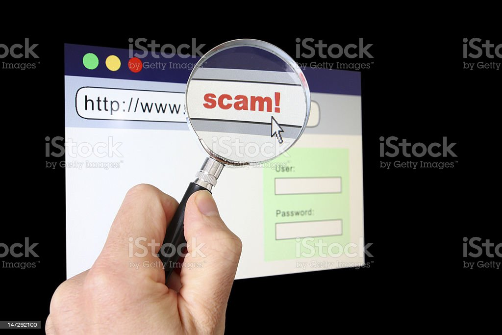 Scams in the WWW stock photo