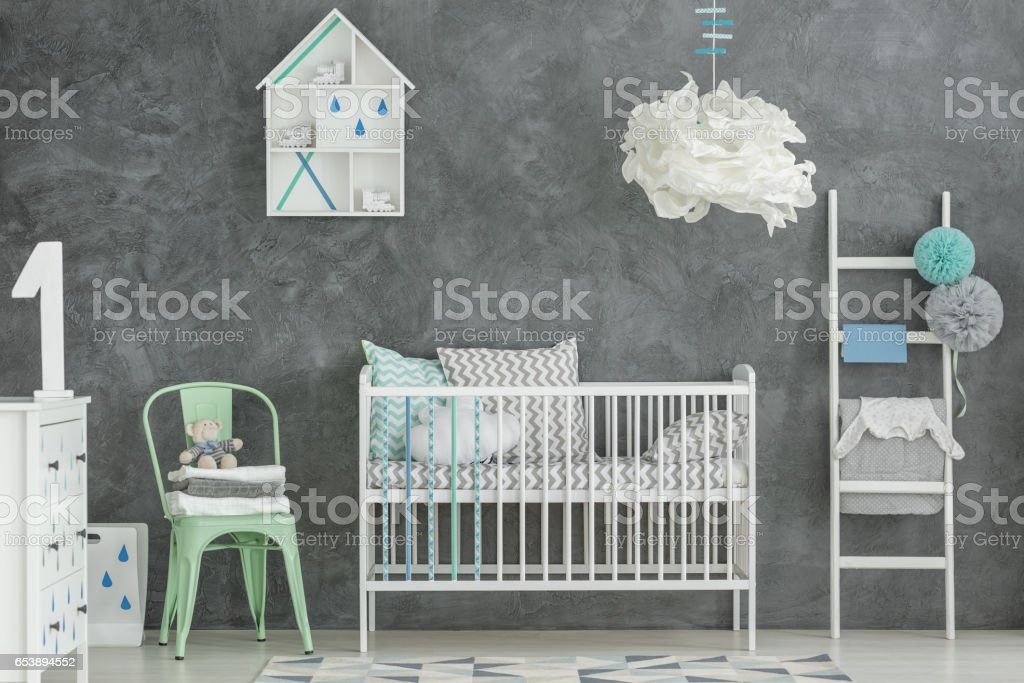 Scandi style baby boy room stock photo