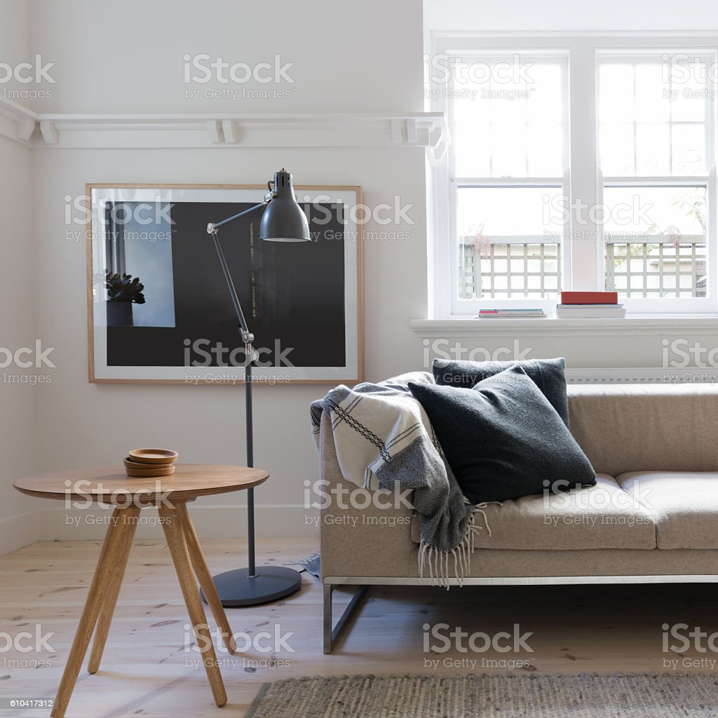 Scandi styled living room in art deco Australian apartment stock photo