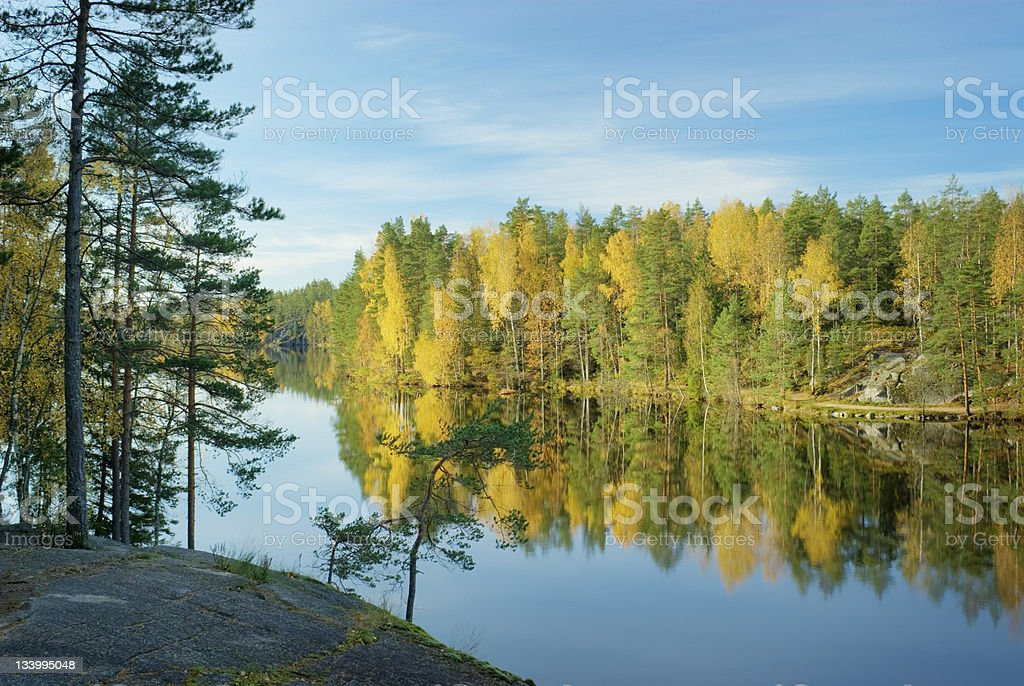 Scandinavia Autumn Lake Finland royalty-free stock photo