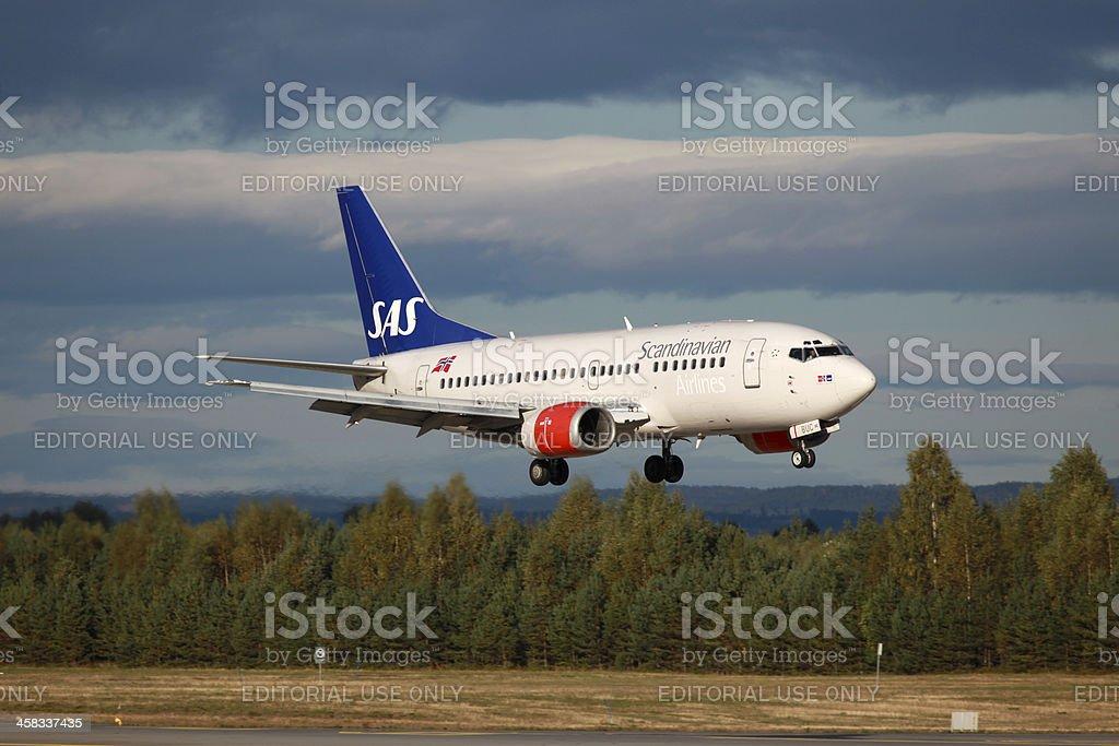 SAS Scandinavian Airlines Boeing 737-500 royalty-free stock photo