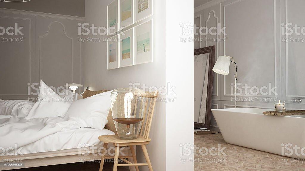 Scandinavian bathroom and bedroom, white minimalistic design, ho stock photo