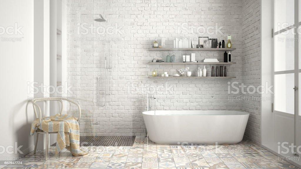 Scandinavian bathroom, classic white vintage interior design stock photo