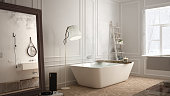 Scandinavian bathroom, white minimalistic design, hotel spa reso
