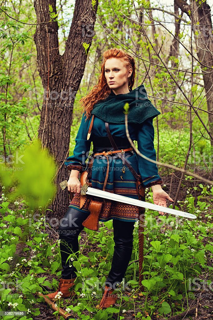 Scandinavian brave woman stock photo