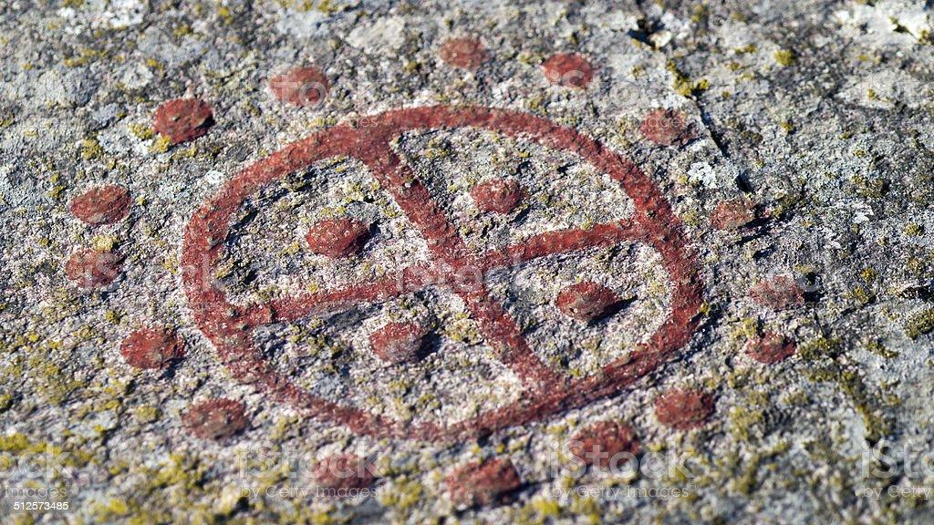 Scandinavian bronze age sun symbol, stock photo