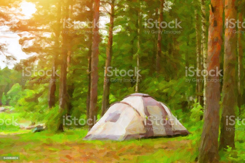 Scandinavian camping in camps and tents. Stylized photo stock photo