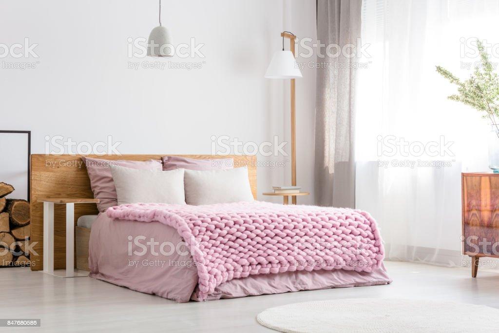 Scandinavian classic bedroom stock photo