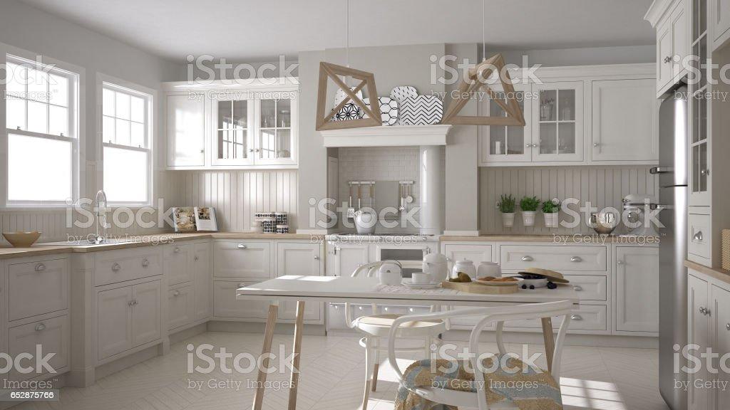 Scandinavian classic white kitchen with wooden details, minimalistic interior design stock photo