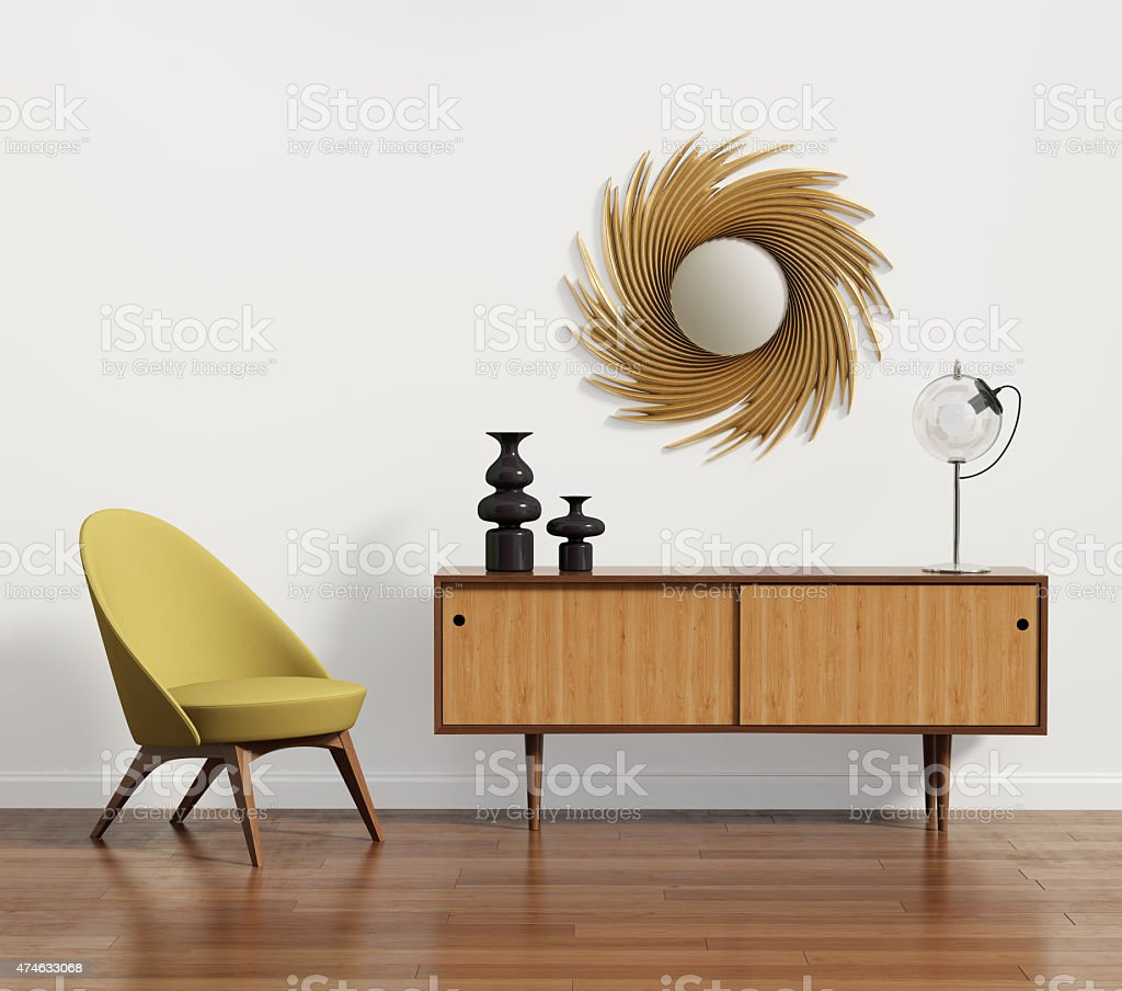 Scandinavian console table with armchair and mirror stock photo