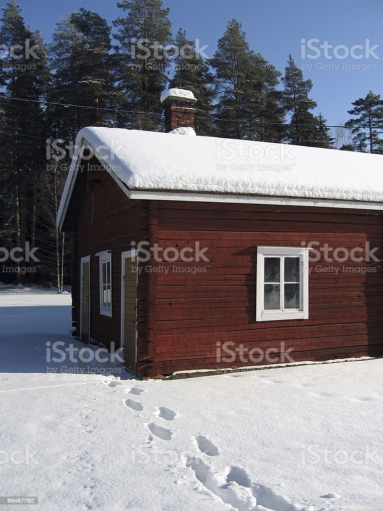 Scandinavian cottage royalty-free stock photo