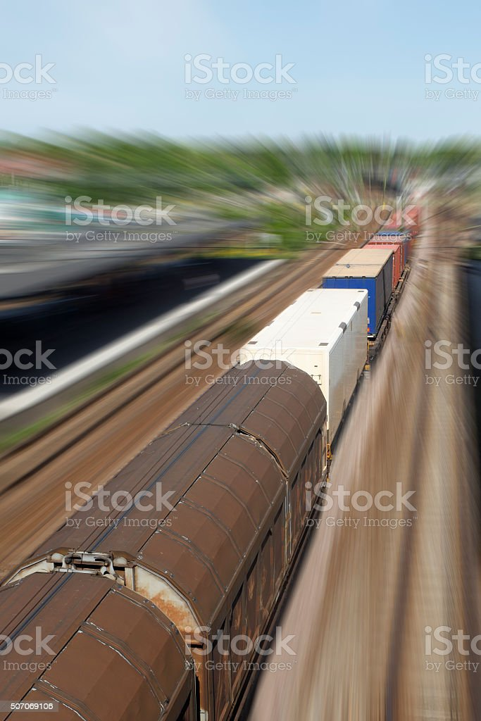 Scandinavian fast rail freight with motion blur stock photo