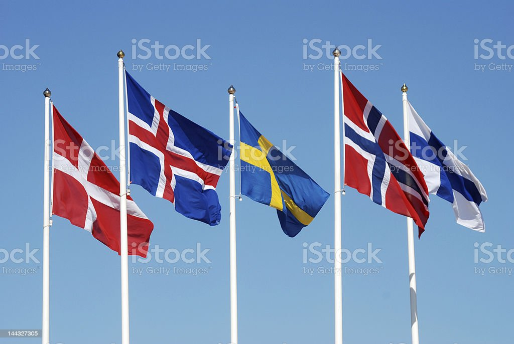 Scandinavian flags stock photo