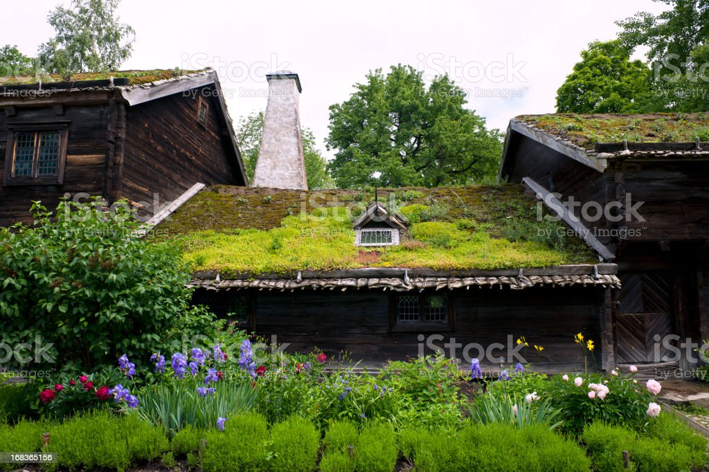 Scandinavian House with Moss on Roof stock photo
