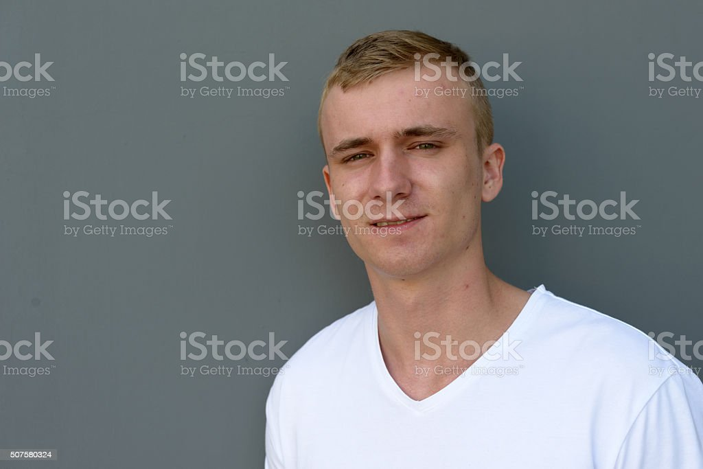 Scandinavian man outdoors stock photo