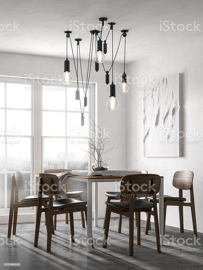 Scandinavian minimalist dining room stock photo