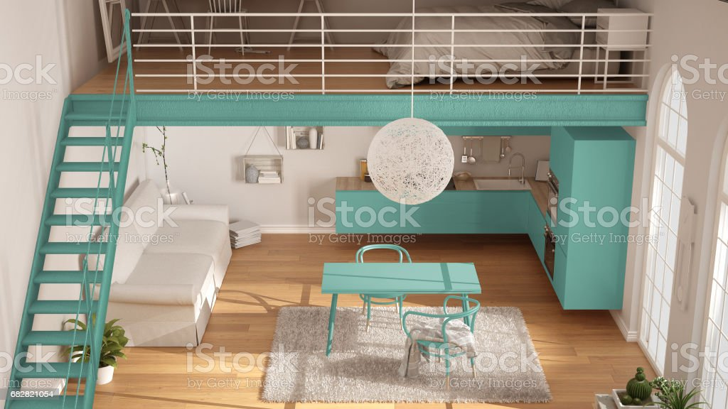 scandinavian minimalist loft oneroom apartment with turquoise