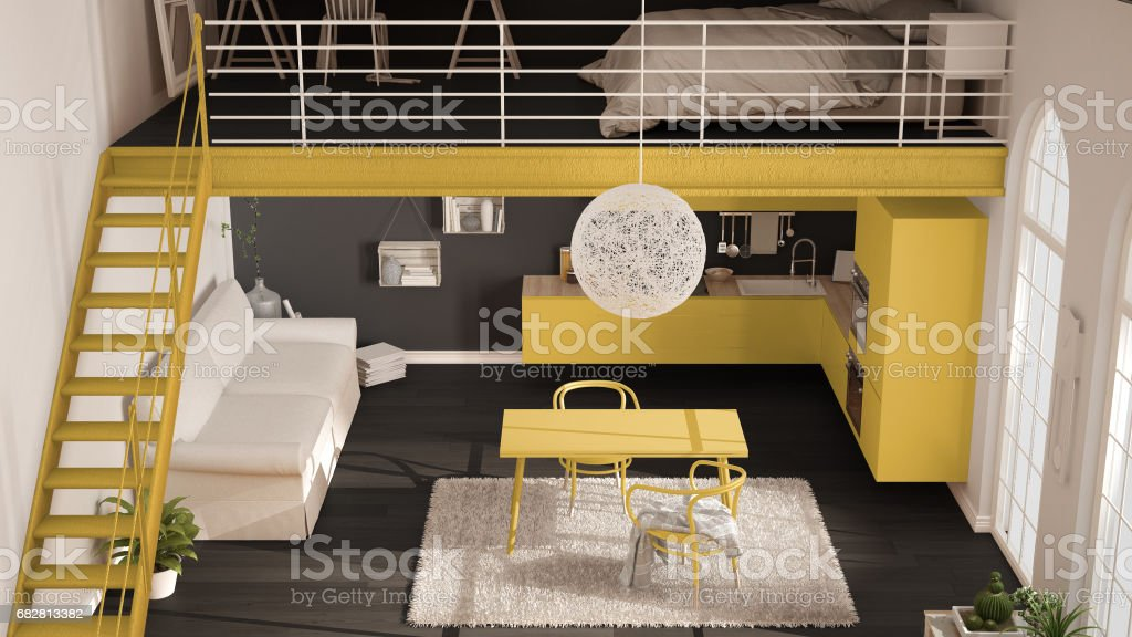 scandinavian minimalist loft oneroom apartment with yellow kitchen