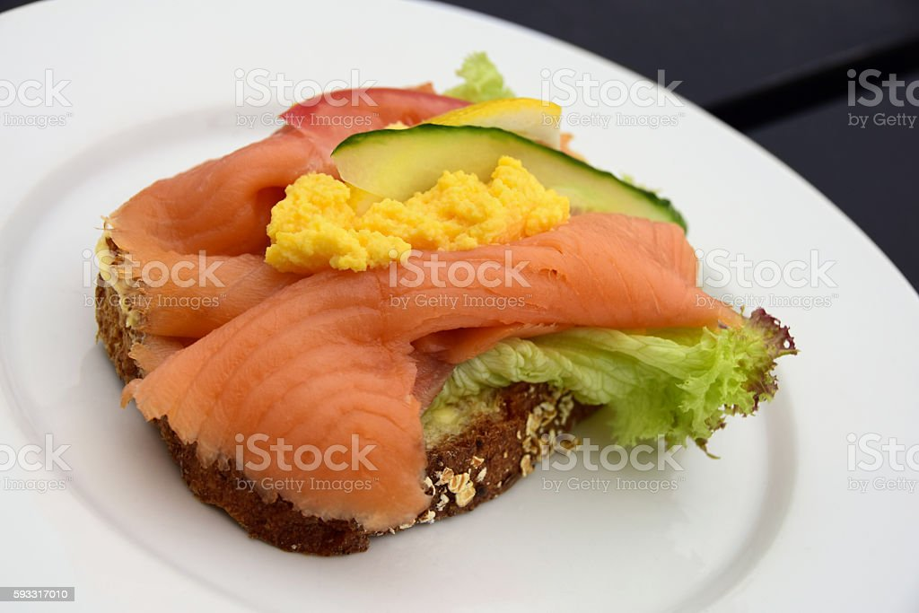 Scandinavian Open Faced Salmon and Egg Smorbrod Sandwich stock photo