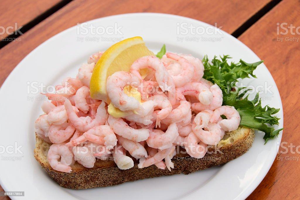 Scandinavian Open Faced Shrimp Sandwich stock photo