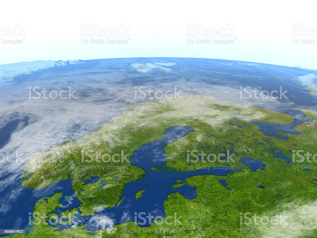 Scandinavian Peninsula on planet Earth stock photo