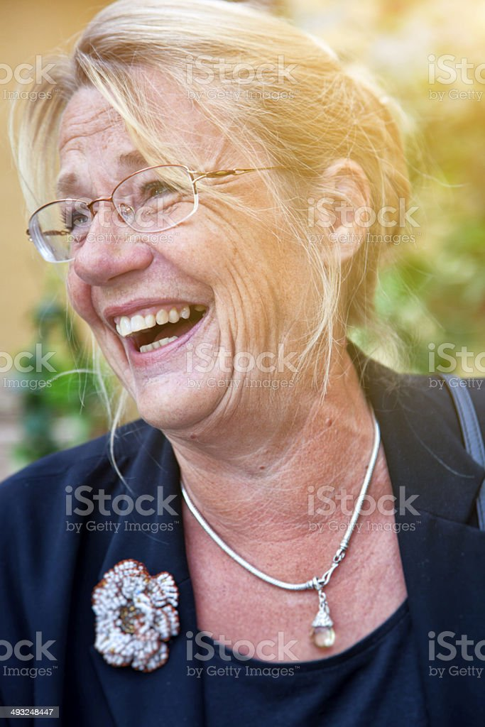 Scandinavian Senior Woman Laughing. stock photo