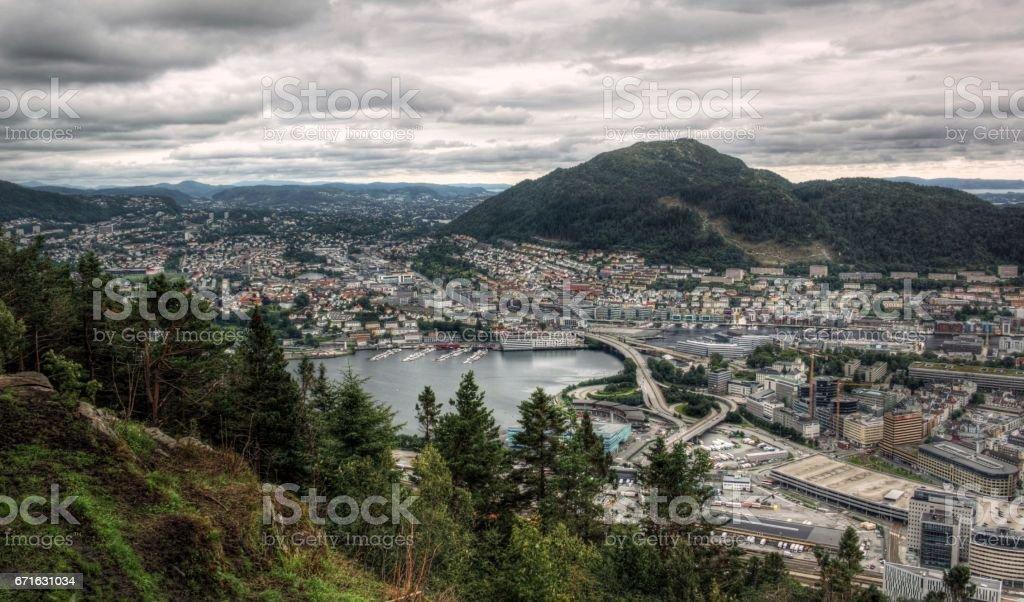 Scandinavian urban exploration on a cloudy day stock photo