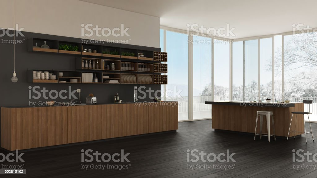Scandinavian white kitchen with wooden and gray details, minimalistic interior design stock photo