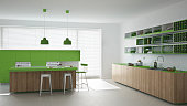 Scandinavian white kitchen with wooden and green details, minima
