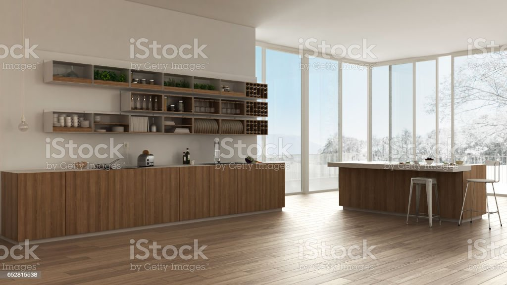 Scandinavian white kitchen with wooden and white details, minimalistic interior design stock photo
