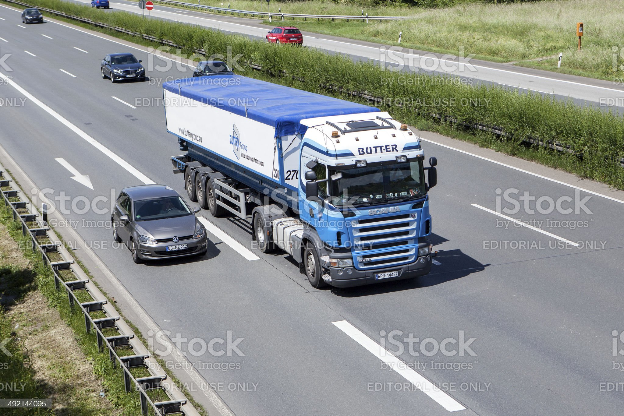 Scania truck on German highway royalty-free stock photo