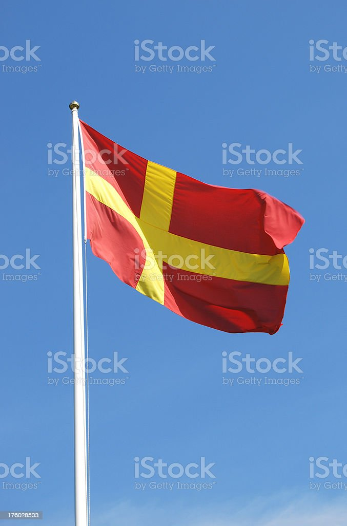Scanian cross flag (Sweden) royalty-free stock photo
