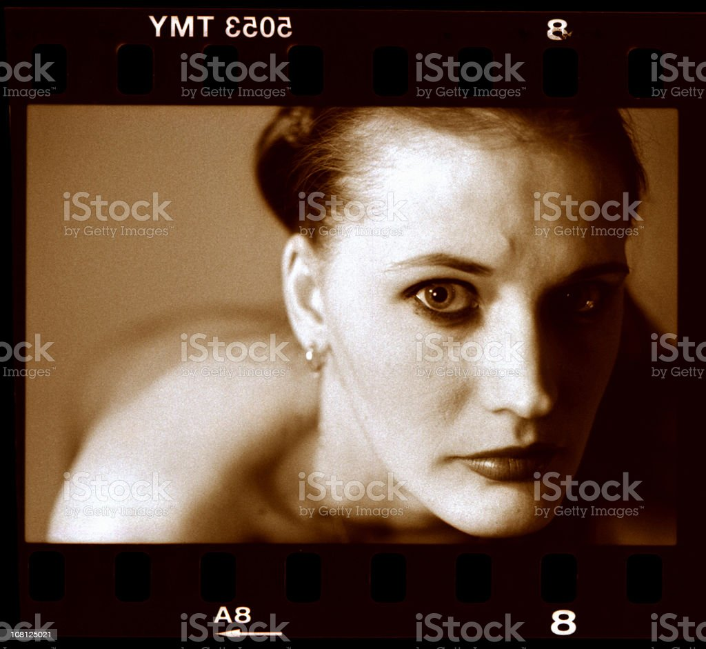 Scanned Negative of Woman with Beautiful Eyes royalty-free stock photo