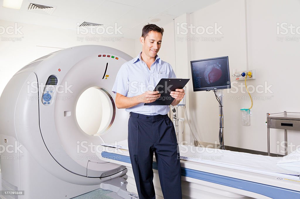 MRI scanner and doctor royalty-free stock photo
