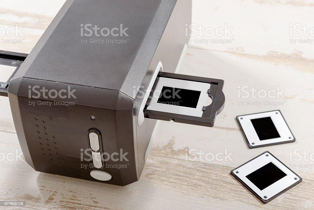 scanner for film and slides stock photo