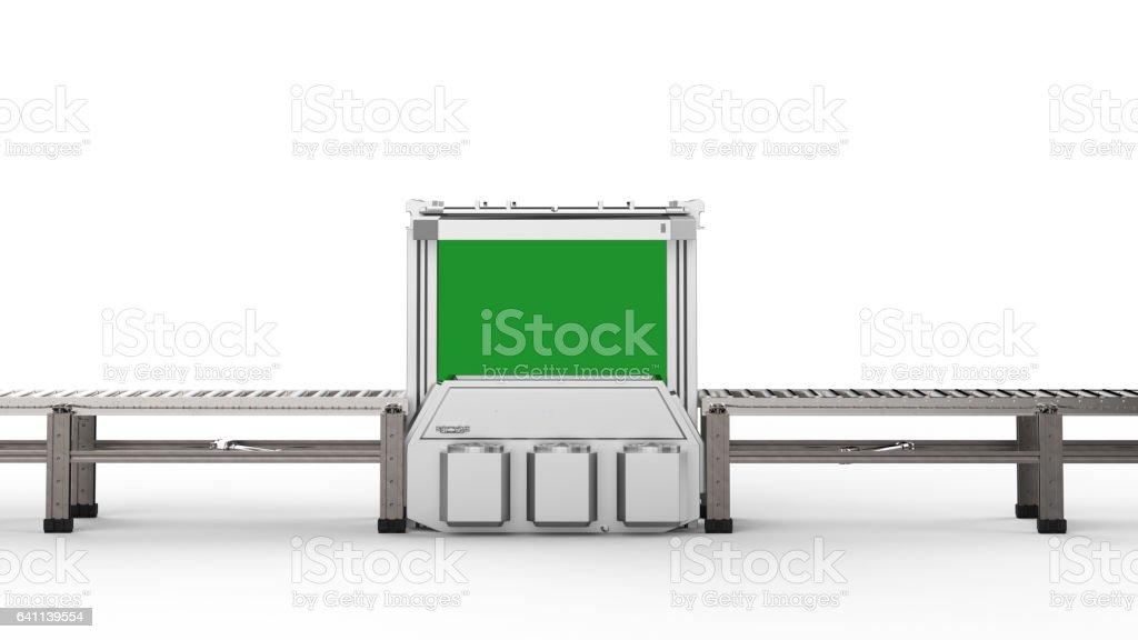 scanner machine with empty conveyor belt stock photo