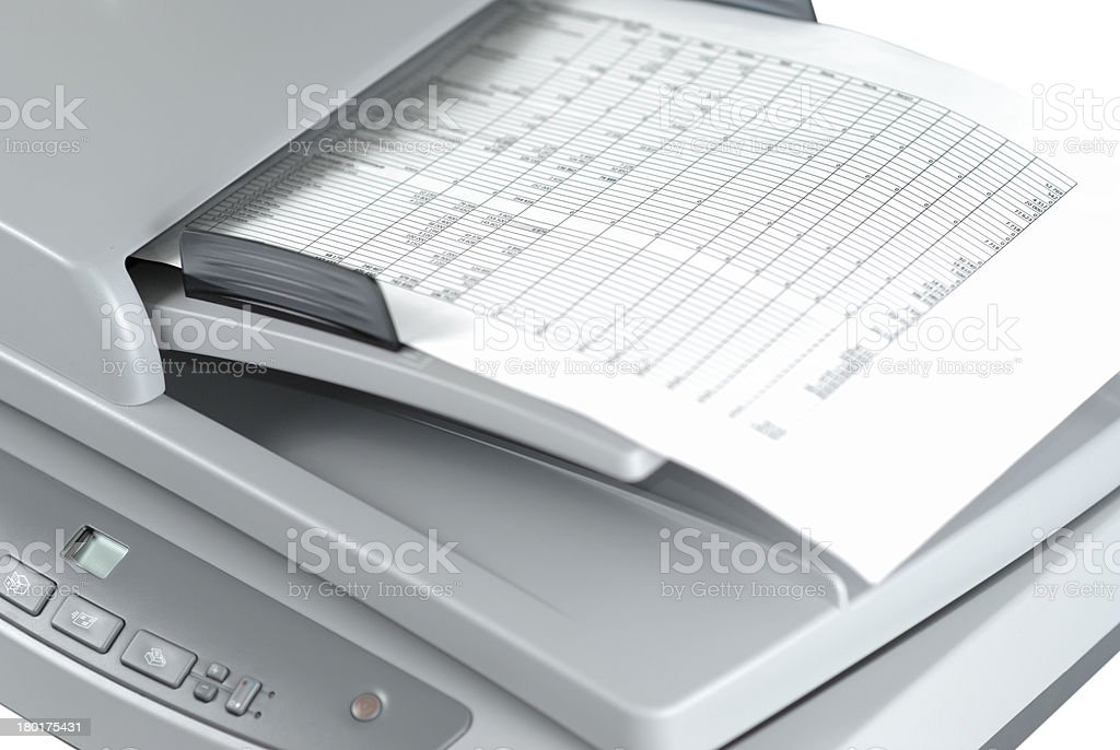 Scanner With Document stock photo