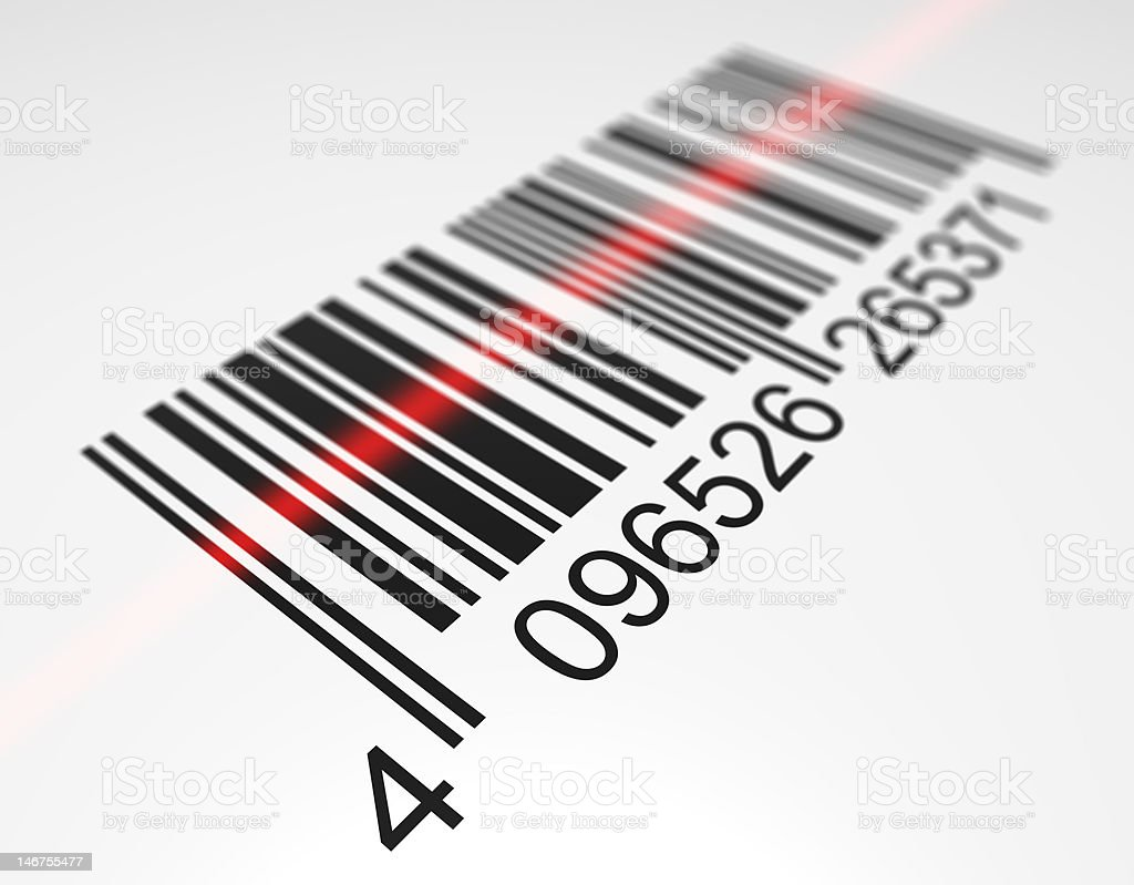 Scanning a bar code stock photo