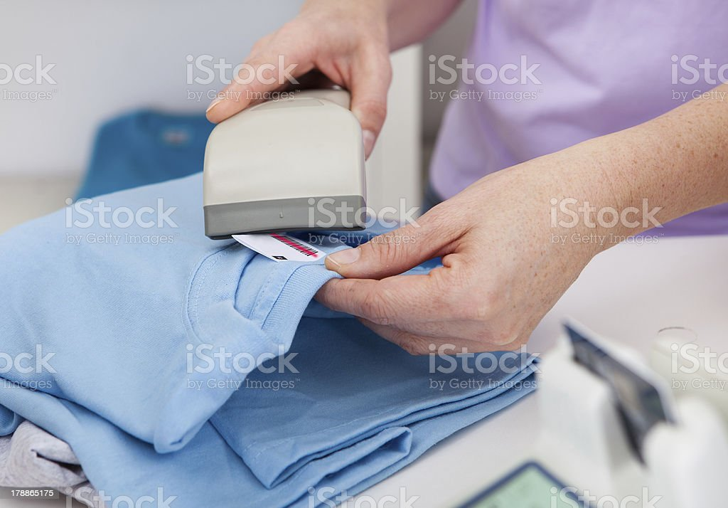 Scanning barcode in the shop royalty-free stock photo
