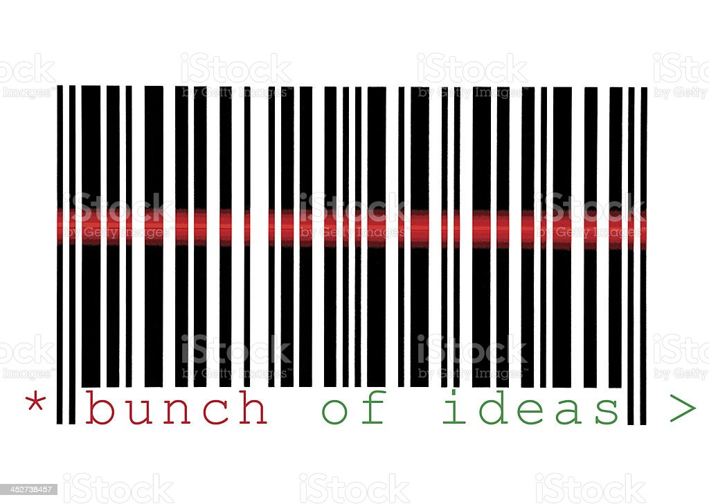 Scanning Bunch of Ideas Barcode Macro Closeup Isolated On White stock photo