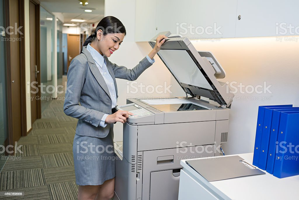 Scanning document stock photo