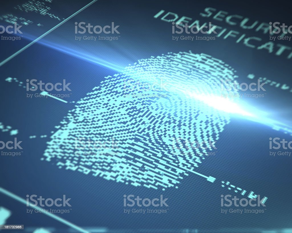 scanning fingerprint stock photo
